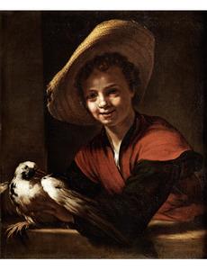 Jongen met een duif