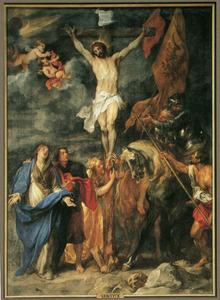 De kruisiging, Christus zijde wordt doorboord met de lans door Longinus