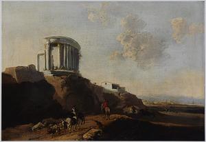 Zuidelijk landschap met ruiters op een weg bij de ruïne van een tempel