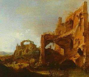Landschap met herders en vee bij een poel tussen romeinse ruïnes