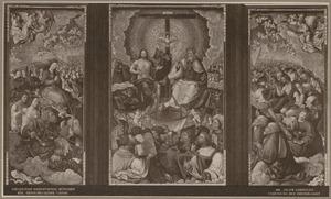 Maria omgeven door engelen, heiligen en figuren uit het Oude Testament (binnenzijde links), De H. Drieëenheid omgeven door engelen, heiligen en figuren uit het Oude Testament (midden), Johannes de Doper omgeven door engelen en heiligen (binnenzijde rechts)
