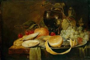 Stilleven van druiven, kersen en een appel rond een roemer; op de voorgrond oesters en een bord met een citroen