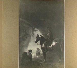 Ruiter en zich ontlastende vrouw in een grot