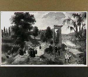 Landschap met figuren en tempel van Saturnus