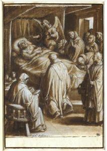 Een engel staat de H. Giovanni Gualberto bij op zijn sterfbed