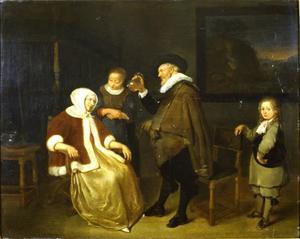 Interieur met een zieke vrouw en een arts die een fles urine bekijkt