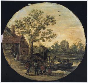 Landschap met figuren bij de waterkant