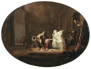 Soldaten spelen kaart met een prostituéee