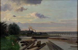 De haven van houthandel G.T. Coers aan de Rijn in Arnhem