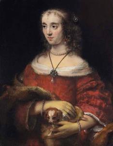 Portret van een vrouw met schoothond