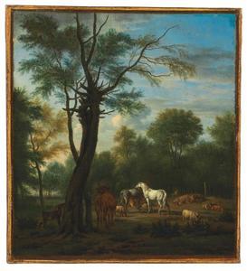 Paarden, koeien, schapen en geiten op een open plek in een bos