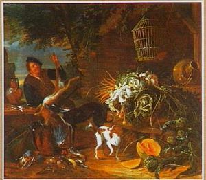 Boerenerf met boer die een haas ophoudt