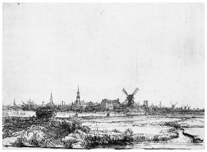 Gezicht op Amsterdam uit het noordwesten