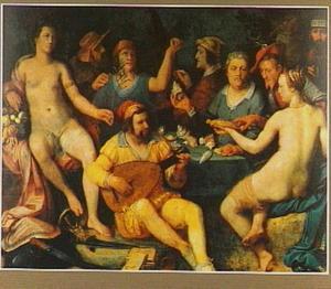 Allegorie op Vrede, Kunsten en Wetenschappen met portretten van o.a. Karel van Mander, Hendrick Goltzius, Jan Govertsen van der Aer en Jan Pietersz. Sweelinck