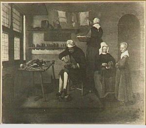Interieur met een schoenmaker, een vrouw met naaiwerk en een vrouw die de was afhaalt