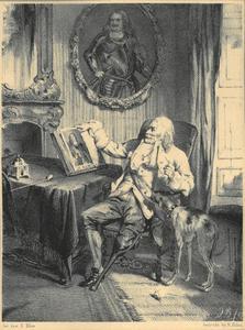 Een oud zee-officier in beschouwing van het portret van M. A. de Ruiter