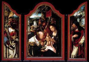 Drieluik met de aanbidding van de Wijzen (middenpaneel); Balthasar (linker luik); Jozef (rechterluik)