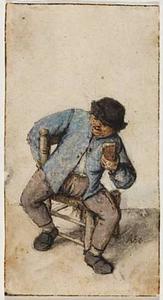 Zittende boer met een glas in de linkerhand