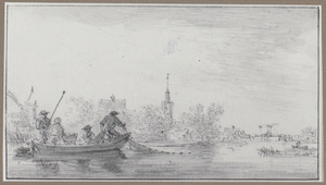 Vier vissers in een bootje bij Ouderkerk