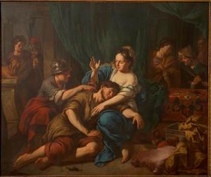 Een filistijn knipt Simson, die in  Delila's schoot slaapt, de haren (Richteren 16:19)