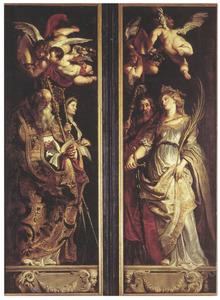 De heilige Amandus en de heilige Walburga  (links) Heilige Eligius en de Heilige Catherina van Alexandrië (rechts)