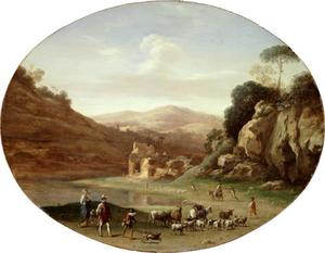 Berglandschap met herders en hun dieren onderweg