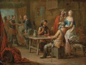Rokende en drinkende soldaten in een herberg