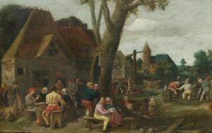 Feestvierende boeren voor een herberg