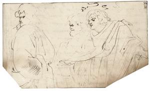 Drie figuren in toga's gekleed