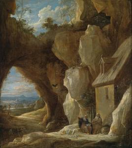 Rotslandschap met de Heilige Antonius Abt en Paulus de Heremiet door een raaf gevoed