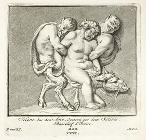 Silenus op zijn ezel ondersteund door twee saters (pl. XXXI)