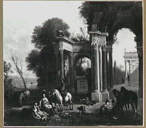 Rustend jachtgezelschap bij klassiek ruïnes