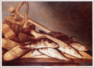 Visstilleven met een mand en drijvers