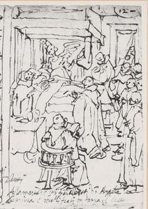 Een engel staat de H. Giovanni Gualberto bij op zijn doodsbed