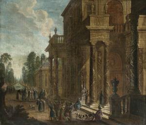 Gezicht op het voorplein van een paleis met oosterse figuren