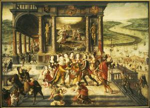 Allegorie op de overgave van Antwerpen in 1585: Alexander Farnese (rechts) overhandigt het wapenschild van Antwerpen aan Filips II