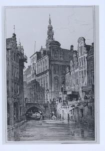 Gezicht vanaf de Oudegracht op het stadhuis van Utrecht