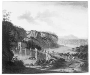 Zuidelijk landschap met jagers bij een brug