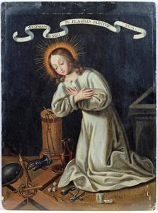 Het Christuskind knielt voor de lijdenswerktuigen