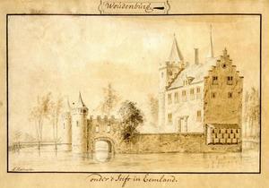 De voor- en rechterzijde van Woudenberg (Woudenburg) bij Leusden