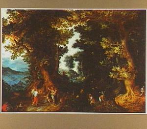 Boslandschap met Latona bespot door de Lycische boeren (Ovidius, Metamorfosen)
