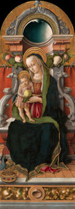 Tronende Maria en kind met een schenker
