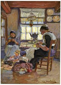 Vrouw met kinderen in een interieur