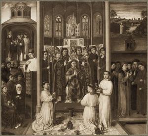 Episoden uit het leven van de H. Augustinus: Augustinus wordt ingewijd tot geestelijke (linksboven), Augustinus preekt voor een schare toehoorders (linksonder), Augustinus wordt tot bisschop van Hippo gewijd (midden), het visioen van H. Augustinus (rechtsboven), Augustinus in geleerd dispuut (rechtsonder)
