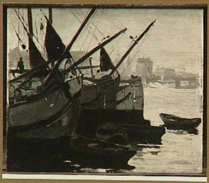 Drie turfschepen op 't IJ, Amsterdam