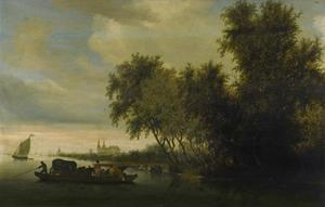Rivierlandschap met veerboot en kerk in de achtergrond