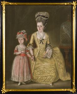 Portret van Johanna Christina Dutry van Haeften (1736-1816) en Georgina Johanna Hoogwerff (1773-1778)