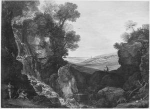 Rotslandschap met jagers, een waterval en de Vestatempel te Tivoli