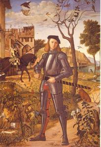 Jonge ridder in een landschap