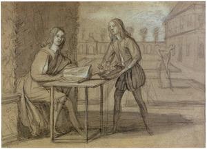 Aan tafel zittende man zoekt in een tulpenboek de tulpen op die een jongeman hem in een mand toont, op de achtergrond het planten van bollen in de tuin van een landhuis